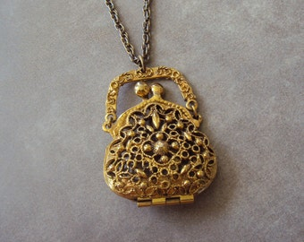 Gold Tone Filigree Purse Necklace Vintage Metal Signed by ART