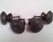 "Set of 4 Vintage Wood Round Drawer Knobs or Pulls, 1-1/2"" Diameter Wood Drawer Knobs with Dark Espresso Brown Finish, Screws Included"