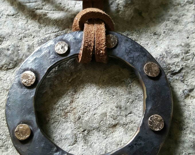 """Bronze Hand Forged Textured Pirate Circle Pendant Rustic Detail Jewelry Necklace 2.5""""d Hypoallergenic Stainless Steel & Brown Leather Strap"""