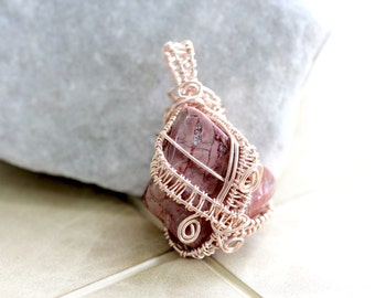 Wire Wrapped Jewelry Handmade Agate Pendant - Woven Wire - Wire Wrap Jewelry Handmade - Woven Wire - Earthy Jewelry - Made in Vermont