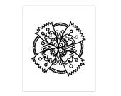 Coloring Book Page Instant Digital Download - hand drawn floral folk art mandala - black and white drawing art print by Jessica Torrant pg 2