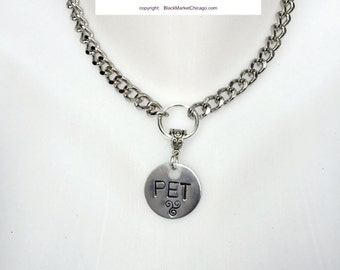 """BDSM Day Collar Personalized Engraved with """"PET"""" and Triskele for Submissive or Slave Choker Necklace Locking or Lobster Clasp Ships FAST"""