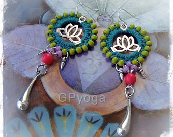 Happy LOTUS earrings Bikini Summer Fun Beaded Macrame jewelry Teal Gypsy Coachella jewelry Yoga festival Dangle earrings Colorful GPyoga