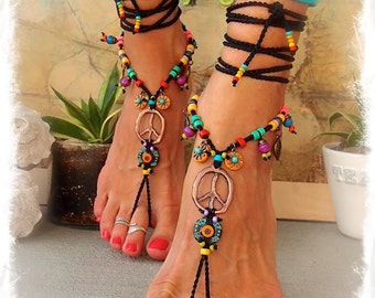Hippie Boho PEACE sign BAREFOOT sandals Bikini Ibiza Sun Gypsy Sandals Crochet toe ankle wrap Toe thongs Black sandal Garden wedding GPyoga