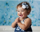 Boat Day- navy, white and light blue chevron and polka dot nautical inspired ruffle and rosette headband