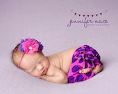 Cake Pop - bright pink and purple rosette and tulle flower heabdand bow