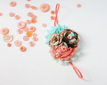 Derby Days - mint coral and tan rosette chiffon and singed satin flower headband bow