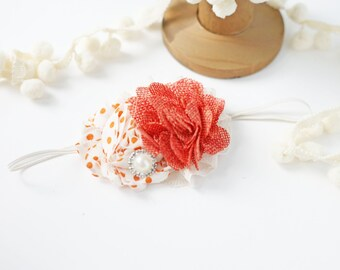 Slice of Life - pumkin cream ivory orange burlap and chiffon flower headband bow