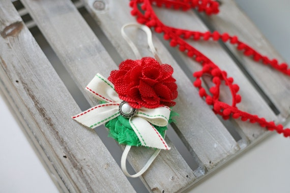 Holiday Stitches - red white ivory and green burlap chiffon and ribbon vintage christmas headband bow