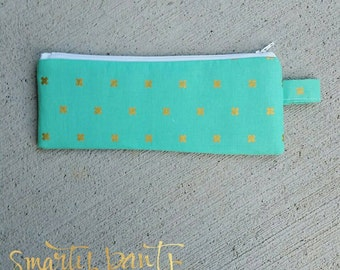 The Pencil Pouch -- Handmade -- Mint Glitz --- Back to School.