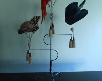 Rare Vintage 1930s Millinery Hat Stand Display of Three Metal Wired Staggered Counter Top Display