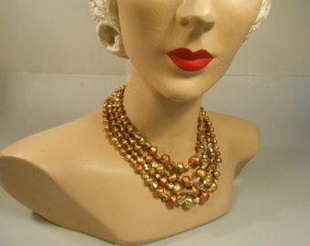 Down in the Mining Pit - Vintage 1950s Tonal Metallic Gold Bronze Copper Lucite Bead 4 Strand Necklace