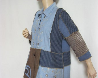 1X to 2X Blue and Brown Tunic