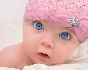 Pink Cotton Bow Hat Knit Hat Pink Bow Hat Lined Warm Hat Winter Hat Baby Hat Girl Hat Toddler Hat Gem Bow Hat Cotton Hat Soft Stretchy Hat