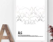 ÄLG (Swedish), elk, moose... Stylish outlined design with a fun fact text. A3 poster print.