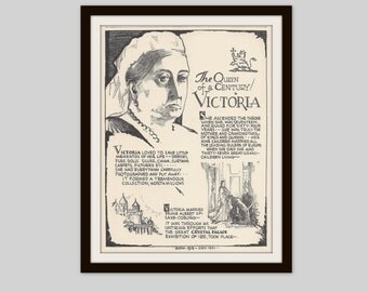 Queen Victoria, Vintage Art Print, History Teacher Gift, Classroom Art, British History, History Gift, Anglophile Gift, British Royal Family