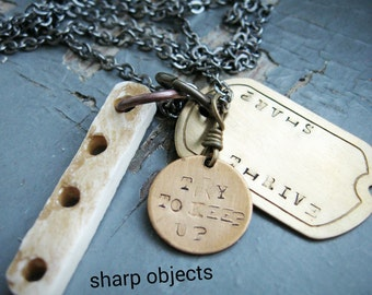 Thrive & Outlast - mens unisex stamped tag, metalwork charms and organic carved bone necklace