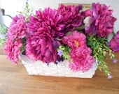 Rustic White Basket Arrangement of Pink Fuchsia Silk Peonies Foliage for Easter Mothers Day or Birthday Gift Centerpiece OOAK ready to ship
