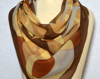 Vintage square scarf: Kaleidoscope Geometric Neutral Large Sheer