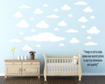 Clouds Wall Decals - Solid Colored Vinyl Wall Decal - Various Sized Clouds Stickers -  DIY Cloud 30 Pack Decal - Kids Bedroom Accent Clouds