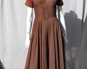 Vintage 50's dress brown an Original Marlene new look dress full skirt swing rockabilly lucy Small by thekaliman