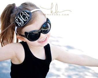 Monogrammed Headband, Black and White, Child Belt, Monogram Initials Buckle, Birthday Gift, School Belt, Toddler, Tween, Teen