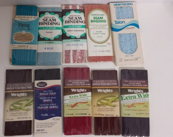 TEN assorted packs of bias tape, lace seam binding, and piping, #01