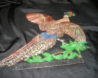 Vintage Rustic Metal Bird/Pheasant Figure Architectural Salvage Ornate Wall Art/Home Decor.