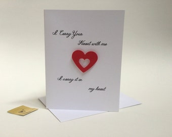 anniversary card for men, I Carry Your Heart With me I carry it in my heart,  made of recycled paper, comes with envelope and seal