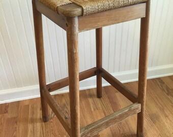 rope and wood bar stool made in yugoslavia hans wegner style tall bar stool