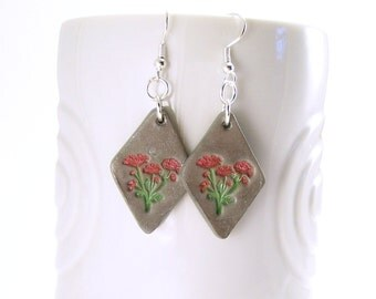 Floral Dangle Clay Earrings, Silver and Coral, Polymer Jewelry