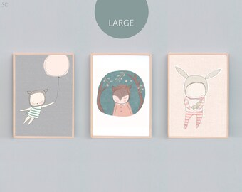 "A2, 16x20"", A3 and 11 x 14"" Art Print Set Three, Bear Nursery Prints, Rabbit Nursery Prints, Bunny Print, Peach, Grey, Mint, Green - 3C"