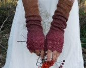 SALE 10% Toffee Rose - Extra Long Elegant Crochet Fingerless Gloves in red, cacao and cinnamon brown