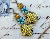 Summer Tea Party,Vintage 1950s Yellow Enamel Flower ,Vintage Glass Jewels, Turquoise flower Altered Assemblage Earrings, HollywoodHillbilly