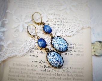 Quiet Storm, Vintage Star Sapphires Glass & Shades of Sky Blue and White German Glass Jewel Earrings by Hollywood Hillbilly