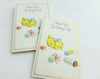 New Baby Gift Thank You Notes Lot of 10 Unused Mid Century Greeting Cards