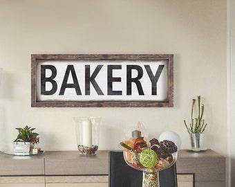 BAKERY -  Large distressed Framed  Kitchen Sign