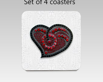 Heart coaster set, drink coasters, set of 4, printed red mosaic heart coasters, cork back coasters, housewarming gift, hostess gift