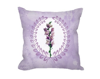 Floral Throw Pillow Cover, floral pillow cover, lavender pillow, snapdragon, home decor, decorative pillow cover, nursery decor