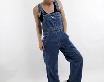 Vintage 90's CK Calvin Klein denim overalls, tags still attached, SOME DAMAGE, indigo blue, lightweight denim, unisex - Medium