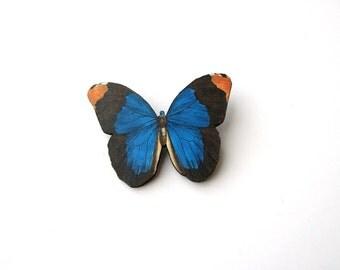 vibrant blue butterfly brooch pin