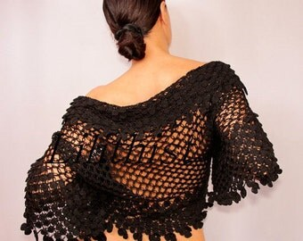 Black Shrug, Bolero, Crochet Shrug, Bridal Shrug Wedding Bolero, Cover Up, Bridal Bolero Lace Shrug, Cotton Crochet Bolero, Evening Shrug