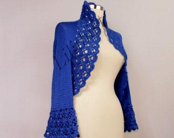 Cobalt Blue Shrug, Bolero, Crochet Shrug, Crochet Bolero, Lace Shrug, Wedding Shrug, Bridal Bolero, Knit Bolero, Azure Blue Crochet Cardigan