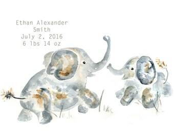 Custom Nursery Art, Baby Nursery,Jungle Nursery, Personalized Baby Gift, Baby Boy Nursery, Baby decor, Elephant Nursery