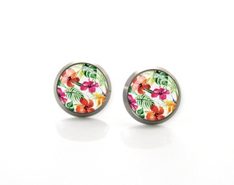 Red orange summer tropic flowers Titanium Post Earrings | Hypoallergenic Earring Stud | Titanium Earring Stud | Sensitive jewelry post studs