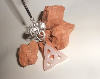 Triquetra Dragon Rose Quartz Crystal Pendant Necklace Beautiful Carved Crystal With Lovely Triple Knot-Celtic Symbol With Dragon Amulet