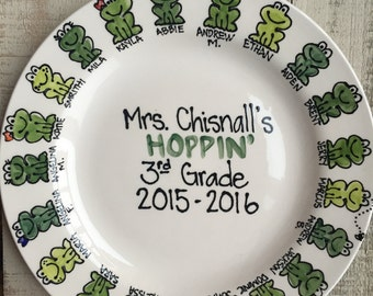 Personalized Teacher Plate, frog plate