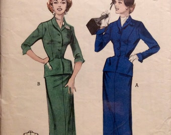 Vintage Sewing Pattern Misses 1950's Suit Dress Jacket & Slim Skirt New Look Suit Size  14