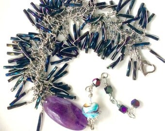 double fringe bracelet. Amethyst oval. Wire wrapped adjustable black beaded bugle beads uniquenecks handmade jewelry.