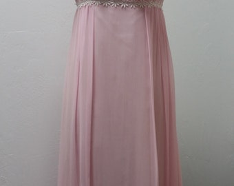 1960s Prom Dress, Edwardian Style, Sheer, Light Pink, Small, #19604